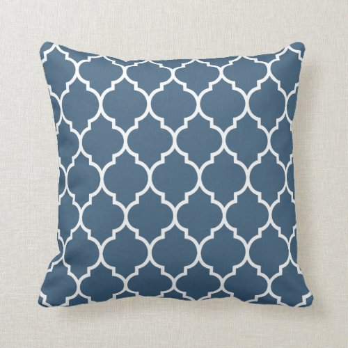 Quatrefoil Pattern in Dark Denim Blue Throw Pillow