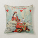 Queen of Hearts Vintage Drawing Personalized Throw Pillow