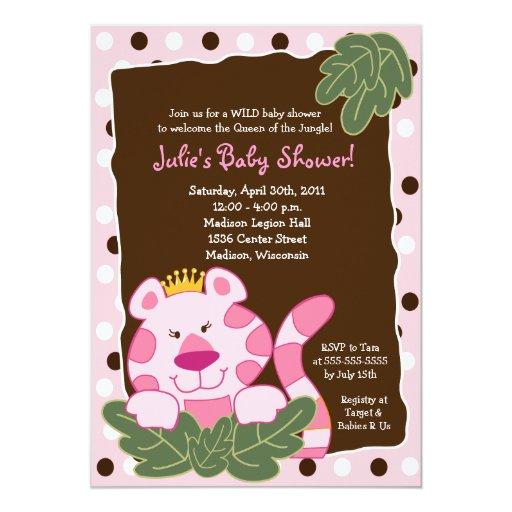 JUNGLE queen baby Shower Card