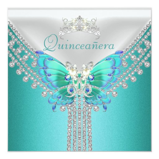 Quinceañera Teal Blue White Butterfly Diamond Card Zazzle