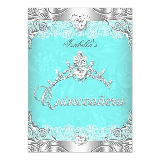 Quinceanera Teal Silver Diamond Tiara 15th Party Card