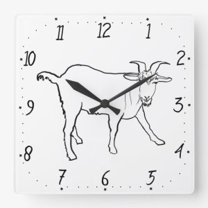 goat quirky simple square drawing clock funny line animal