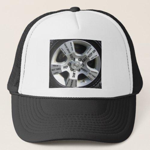Car Wheel Motivation Words on a Hat