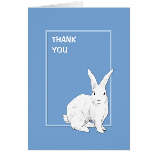 Rabbit Blue Thank You Note Card