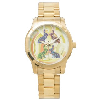 Rabbit Pattern Art Gold Unisex Watch