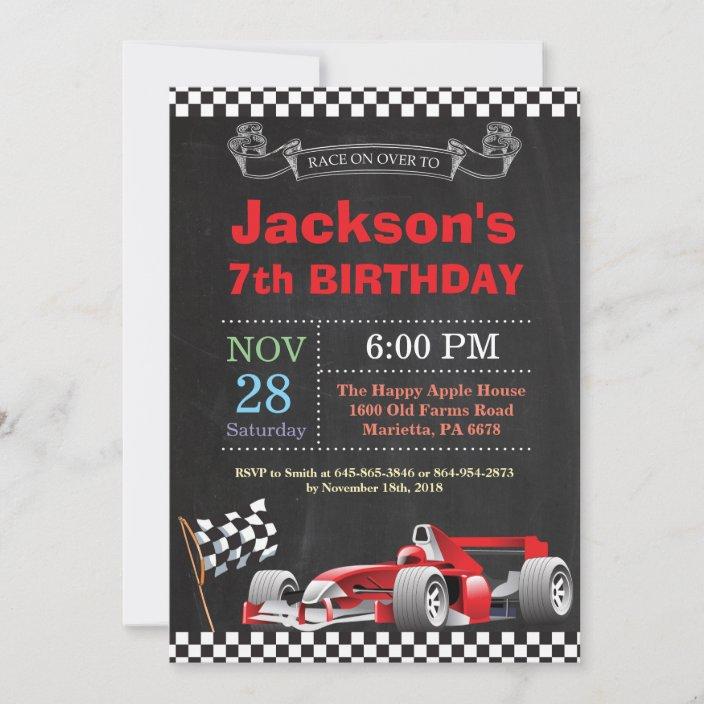 race car birthday invitation boy birthday party invitation zazzle com