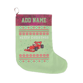 Race Car Ugly Christmas Sweater Large Christmas Stocking