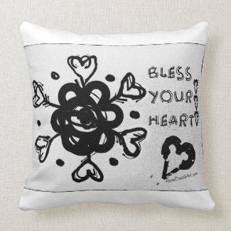 Rachel Doodle Art - Bless Your Heart Throw Pillows