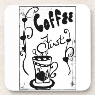 Rachel Doodle Art - Coffee First Coasters