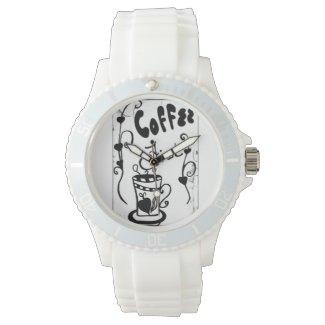 Rachel Doodle Art - Coffee First Wrist Watch