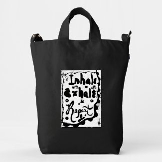 Rachel Doodle Art - Inhale, Exhale, Repeat Duck Canvas Bag