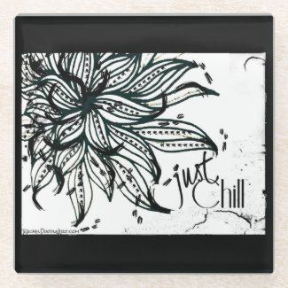 Rachel Doodle Art - Just Chill Glass Coaster