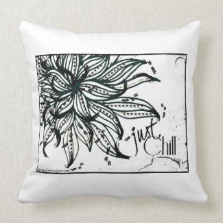 Rachel Doodle Art - Just Chill Throw Pillows