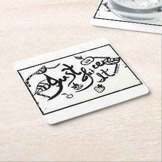 Rachel Doodle Art - Just Juice It Square Paper Coaster