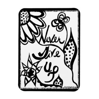 Rachel Doodle Art - Never Give Up Rectangular Photo Magnet