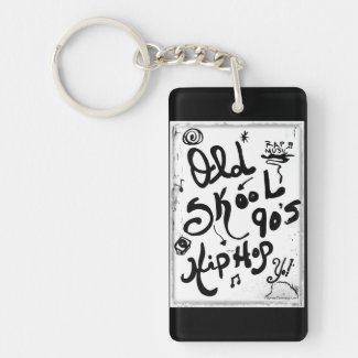 Rachel Doodle Art - Old-Skool 90's Hip-Hop Single-Sided Rectangular Acrylic Keychain