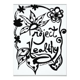 Rachel Doodle Art - Project Healthy 5.5x7.5 Paper Invitation Card
