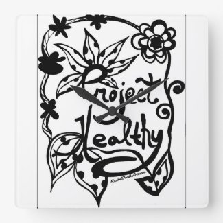 Rachel Doodle Art - Project Healthy Square Wall Clock