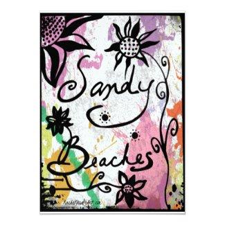 Rachel Doodle Art - Sandy Beaches 5x7 Paper Invitation Card