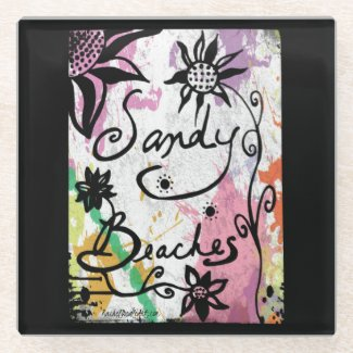 Rachel Doodle Art - Sandy Beaches Glass Coaster