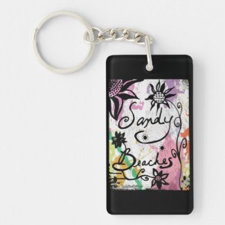 Rachel Doodle Art - Sandy Beaches Single-Sided Rectangular Acrylic Keychain