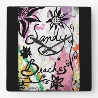 Rachel Doodle Art - Sandy Beaches Square Wallclocks