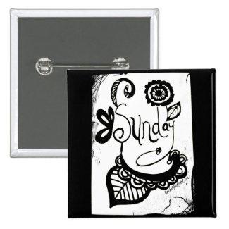 Rachel Doodle Art - Sunday 2 Inch Square Button