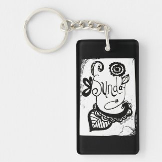 Rachel Doodle Art - Sunday Single-Sided Rectangular Acrylic Keychain