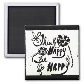 Rachel Doodle Art - Think Happy Be Happy 2 Inch Square Magnet