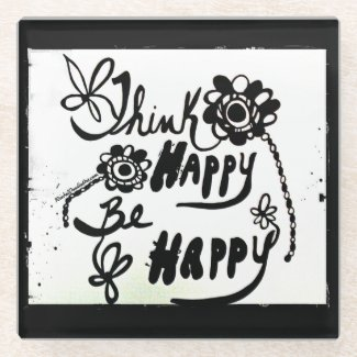 Rachel Doodle Art - Think Happy Be Happy Glass Coaster