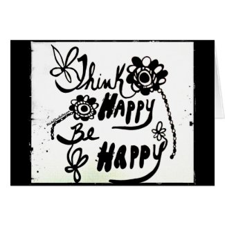 Rachel Doodle Art - Think Happy Be Happy Greeting Card