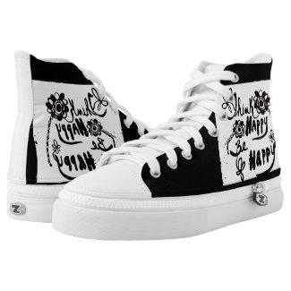 Rachel Doodle Art - Think Happy Be Happy Printed Shoes