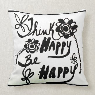 Rachel Doodle Art - Think Happy Be Happy Throw Pillows
