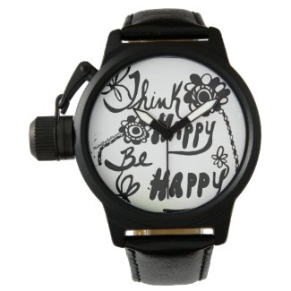 Rachel Doodle Art - Think Happy Be Happy Wristwatches