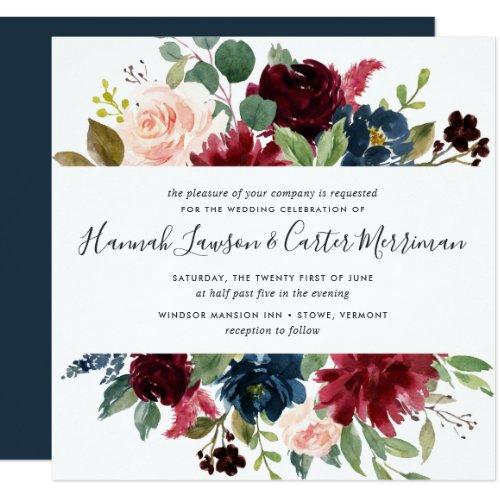 Radiant Bloom Floral Wedding Invitation | Square