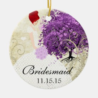 Radiant Orchid Bridesmaid Gift Christmas Ornaments