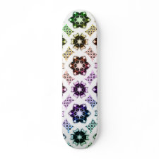 Rainbow Alien Eye Fractal Art Pattern skateboard