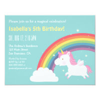 Rainbow and Unicorn Girls Birthday Party Card