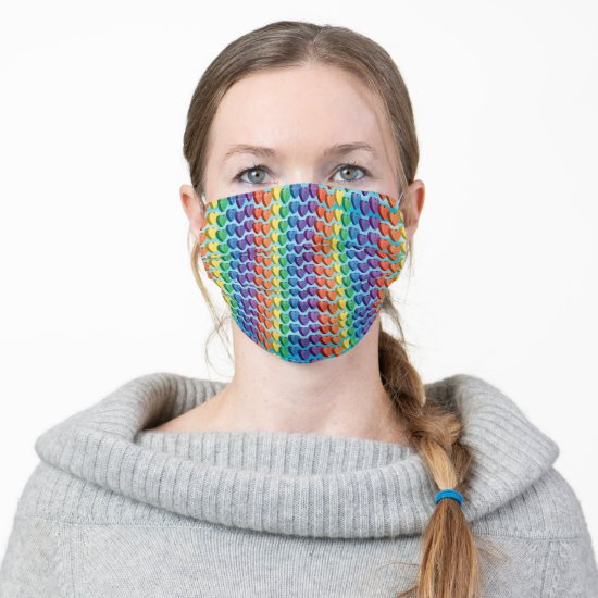 Rainbow Colored Three Dimensional Hearts Cloth Face Mask