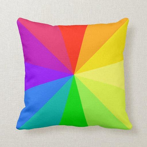 Rainbow Colors Art Throw Pillow  Zazzle