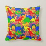 Rainbow Dinosaur Kid S Room Nursery Bright Accent Throw Pillow Zazzle Com