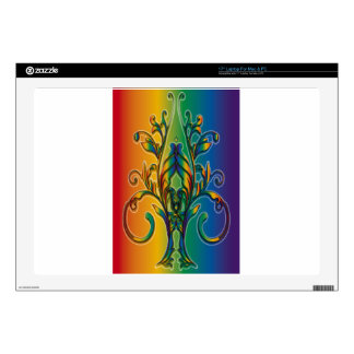 "Rainbow Floral Abstract 17"" Laptop Skin"