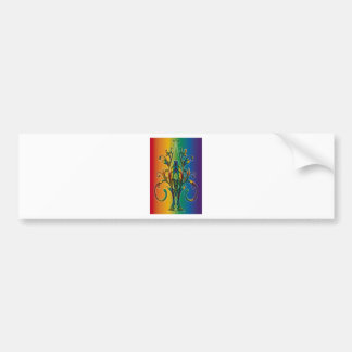 Rainbow Floral Abstract Bumper Sticker