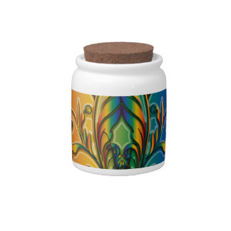 Rainbow Floral Abstract Candy Jar