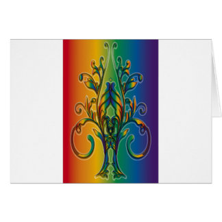 Rainbow Floral Abstract Greeting Cards