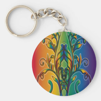Rainbow Floral Abstract Keychain