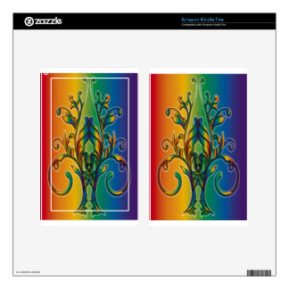 Rainbow Floral Abstract Kindle Fire Decal