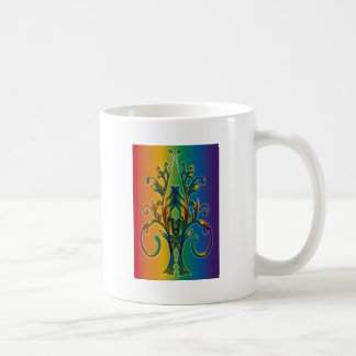 Rainbow Floral Abstract Mug
