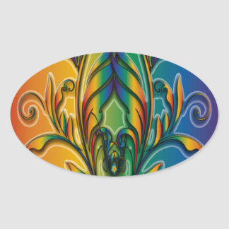 Rainbow Floral Abstract Oval Stickers
