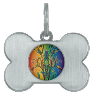 Rainbow Floral Abstract Pet Name Tags